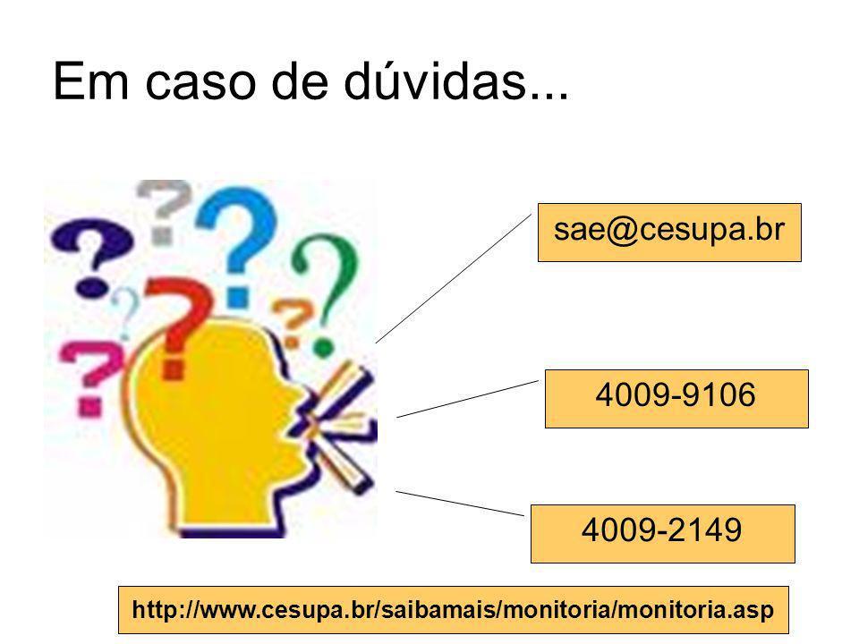 Em caso de dúvidas... sae@cesupa.br 4009-9106 4009-2149 http://www.cesupa.br/saibamais/monitoria/monitoria.asp