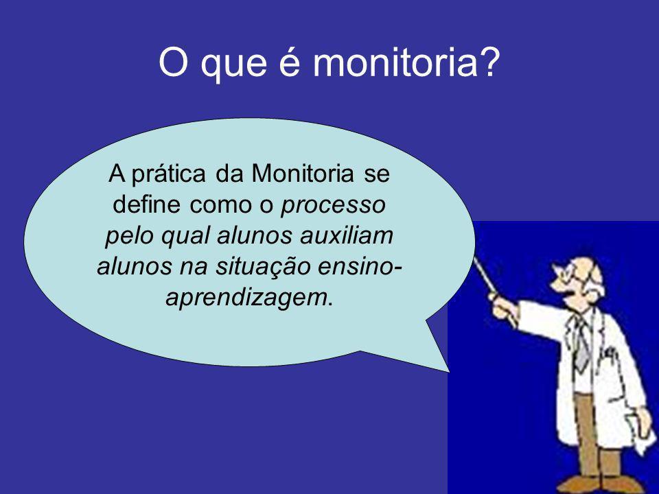 O que é monitoria? A prática da Monitoria se define como o processo pelo qual alunos auxiliam alunos na situação ensino- aprendizagem.