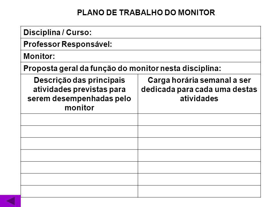 PLANO DE TRABALHO DO MONITOR Disciplina / Curso: Professor Responsável: Monitor: Proposta geral da função do monitor nesta disciplina: Descrição das p