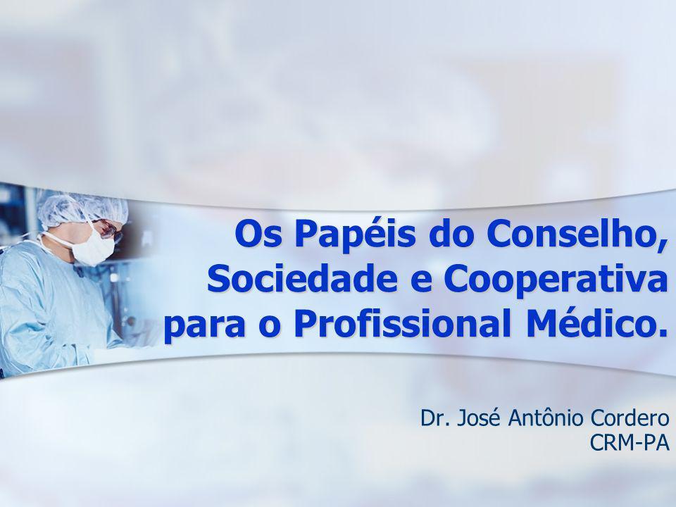 Os Papéis do Conselho, Sociedade e Cooperativa para o Profissional Médico. Dr. José Antônio Cordero CRM-PA