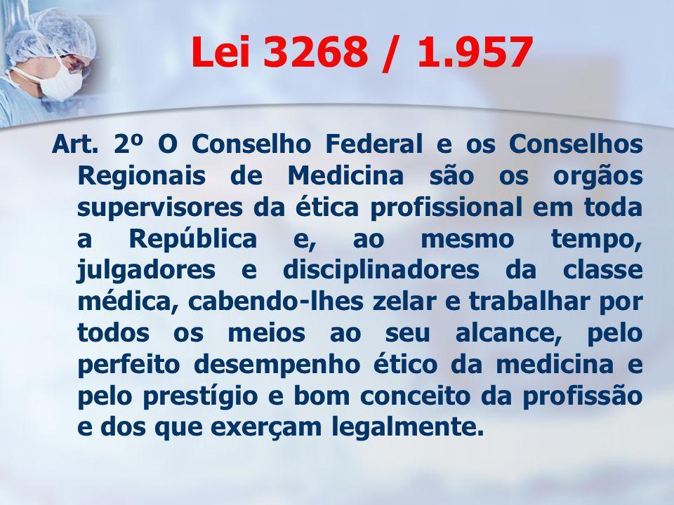 Lei 3268 / 1.957 Art. 2º O Conselho Federal e os Conselhos Regionais de Medicina são os orgãos supervisores da ética profissional em toda a República