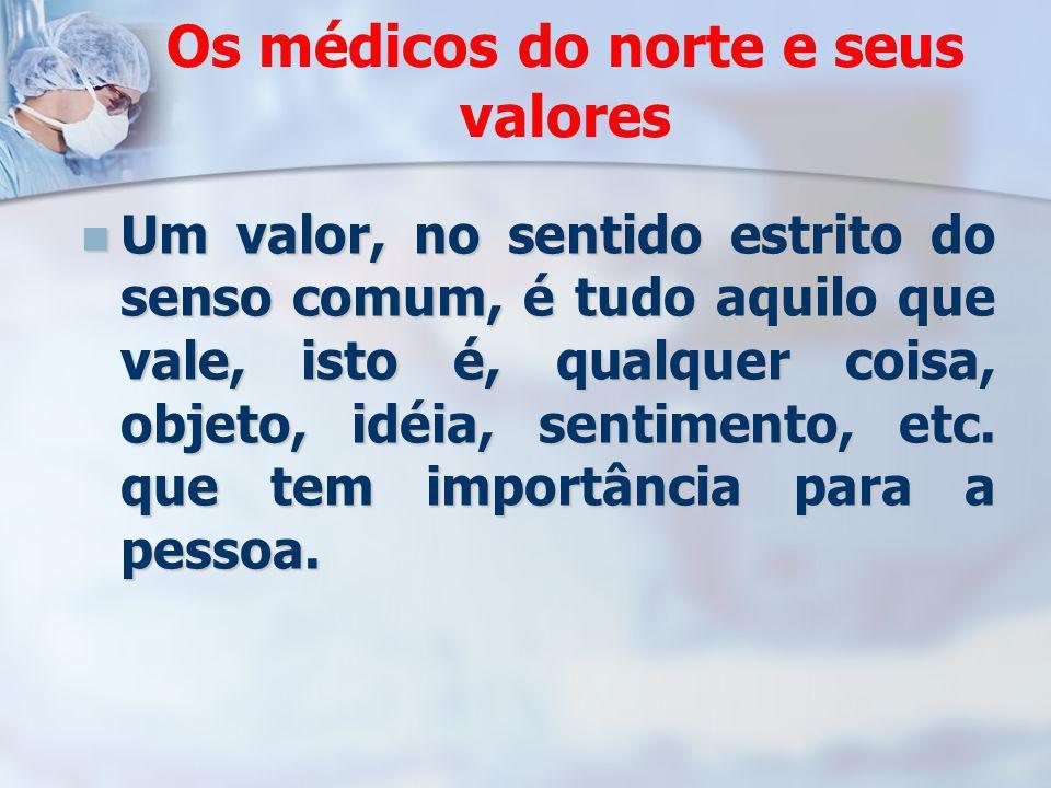 Os médicos do norte e seus valores Um valor, no sentido estrito do senso comum, é tudo aquilo que vale, isto é, qualquer coisa, objeto, idéia, sentime