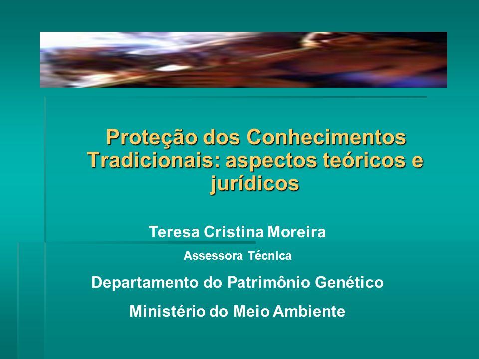 Proteção dos Conhecimentos Tradicionais: aspectos teóricos e jurídicos Teresa Cristina Moreira Assessora Técnica Departamento do Patrimônio Genético Ministério do Meio Ambiente