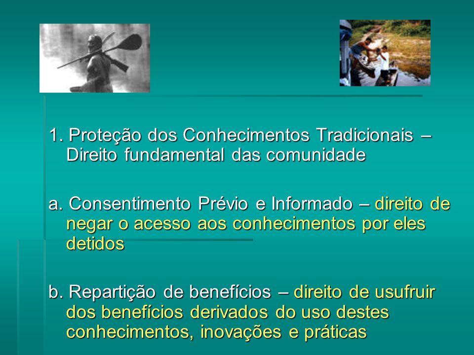 1.Proteção dos Conhecimentos Tradicionais – Direito fundamental das comunidade a.