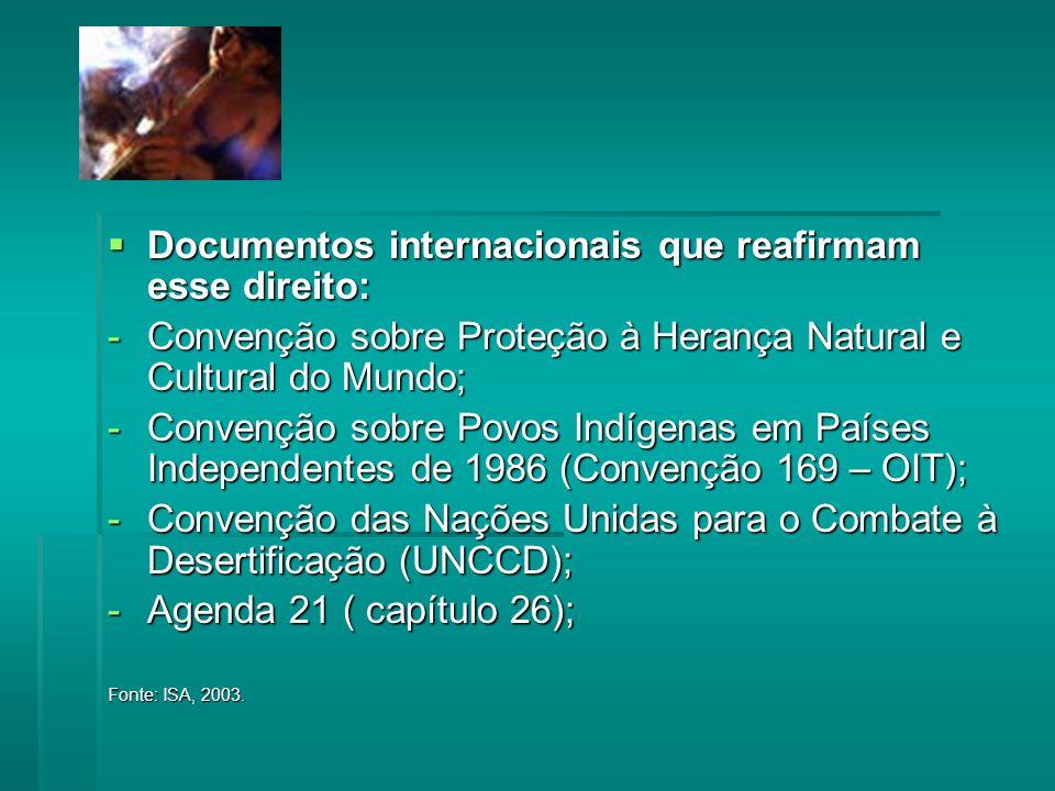 Documentos internacionais que reafirmam esse direito: Documentos internacionais que reafirmam esse direito: -Convenção sobre Proteção à Herança Natural e Cultural do Mundo; -Convenção sobre Povos Indígenas em Países Independentes de 1986 (Convenção 169 – OIT); -Convenção das Nações Unidas para o Combate à Desertificação (UNCCD); -Agenda 21 ( capítulo 26); Fonte: ISA, 2003.