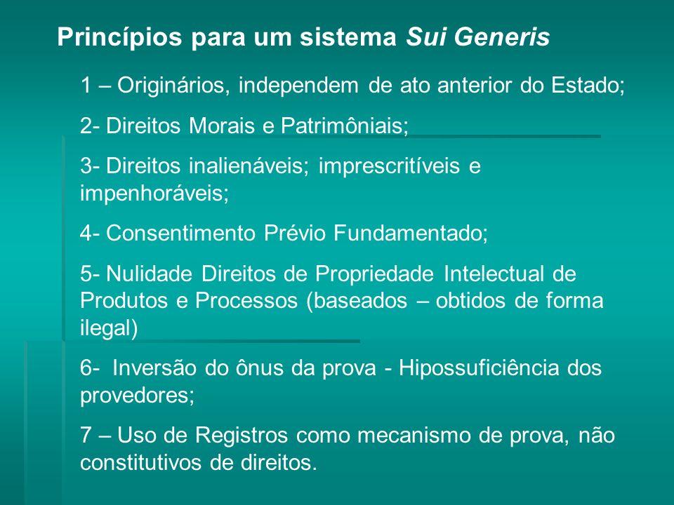 Princípios para um sistema Sui Generis 1 – Originários, independem de ato anterior do Estado; 2- Direitos Morais e Patrimôniais; 3- Direitos inalienáveis; imprescritíveis e impenhoráveis; 4- Consentimento Prévio Fundamentado; 5- Nulidade Direitos de Propriedade Intelectual de Produtos e Processos (baseados – obtidos de forma ilegal) 6- Inversão do ônus da prova - Hipossuficiência dos provedores; 7 – Uso de Registros como mecanismo de prova, não constitutivos de direitos.