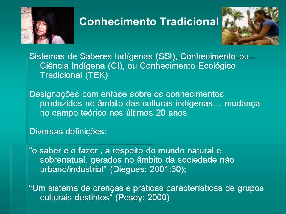 Conhecimento Tradicional Sistemas de Saberes Indígenas (SSI), Conhecimento ou Ciência Indígena (CI), ou Conhecimento Ecológico Tradicional (TEK) Designações com enfase sobre os conhecimentos produzidos no âmbito das culturas indígenas… mudança no campo teórico nos últimos 20 anos Diversas definições: o saber e o fazer, a respeito do mundo natural e sobrenatual, gerados no âmbito da sociedade não urbano/industrial (Diegues: 2001:30); Um sistema de crenças e práticas características de grupos culturais destintos (Posey: 2000)