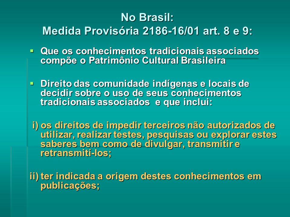 No Brasil: Medida Provisória 2186-16/01 art.