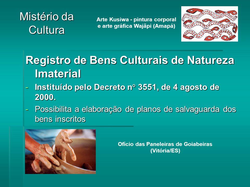 Registro de Bens Culturais de Natureza Imaterial -Instituído pelo Decreto n° 3551, de 4 agosto de 2000.