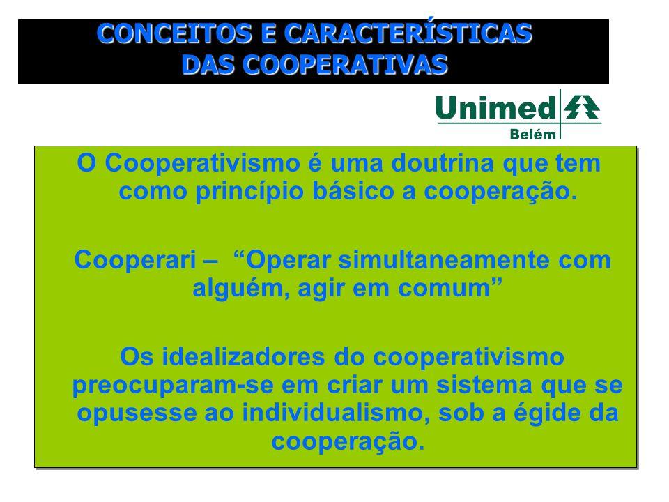 O Cooperativismo é uma doutrina que tem como princípio básico a cooperação. Cooperari – Operar simultaneamente com alguém, agir em comum Os idealizado