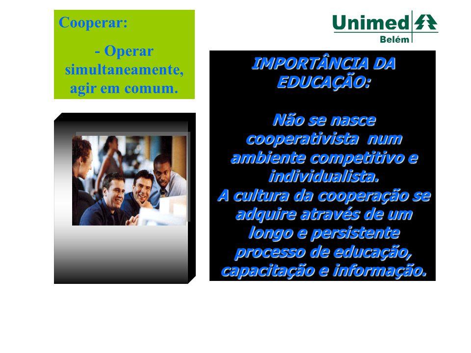 Educação Cooperativista IMPORTÂNCIA DA EDUCAÇÃO: Não se nasce cooperativista num ambiente competitivo e individualista. A cultura da cooperação se adq