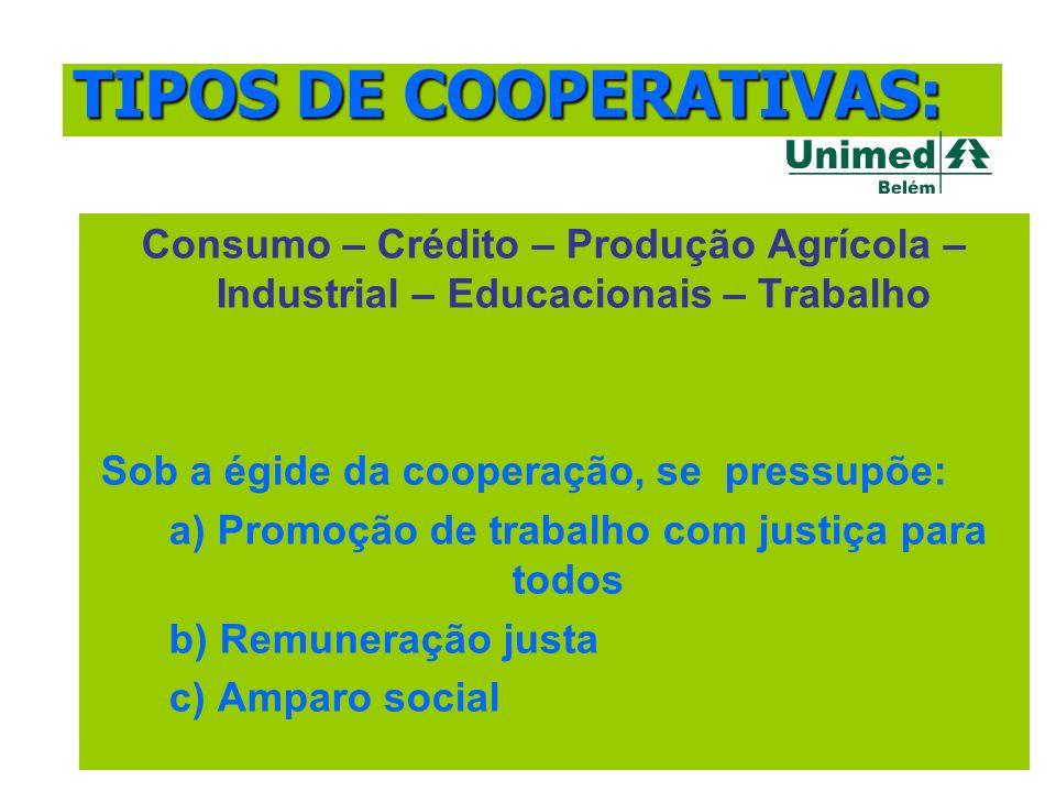 Consumo – Crédito – Produção Agrícola – Industrial – Educacionais – Trabalho Sob a égide da cooperação, se pressupõe: a) Promoção de trabalho com just