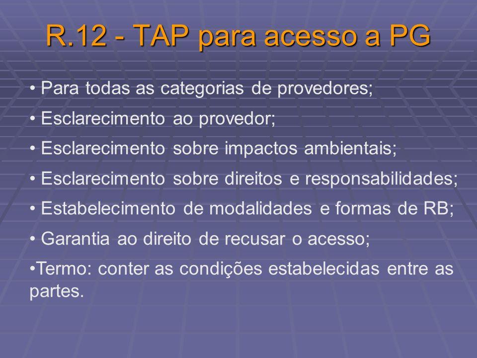R.12 - TAP para acesso a PG Para todas as categorias de provedores; Esclarecimento ao provedor; Esclarecimento sobre impactos ambientais; Esclarecimen