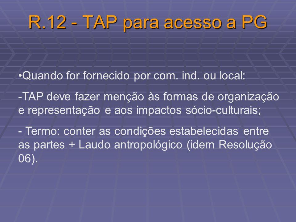 R.12 - TAP para acesso a PG Quando for fornecido por com. ind. ou local: -TAP deve fazer menção às formas de organização e representação e aos impacto