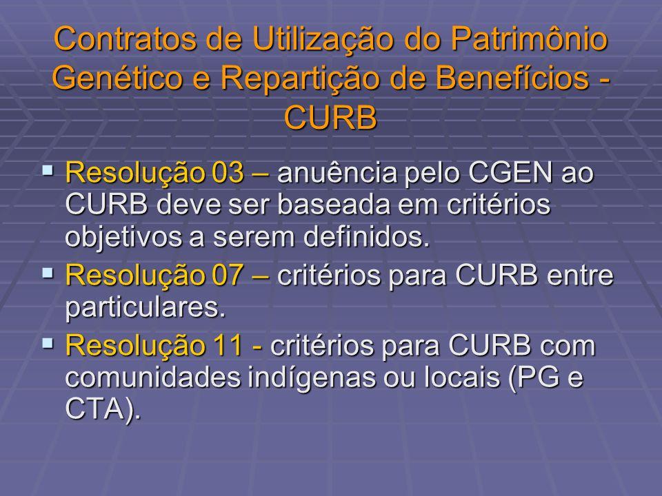 Contratos de Utilização do Patrimônio Genético e Repartição de Benefícios - CURB Resolução 03 – anuência pelo CGEN ao CURB deve ser baseada em critéri