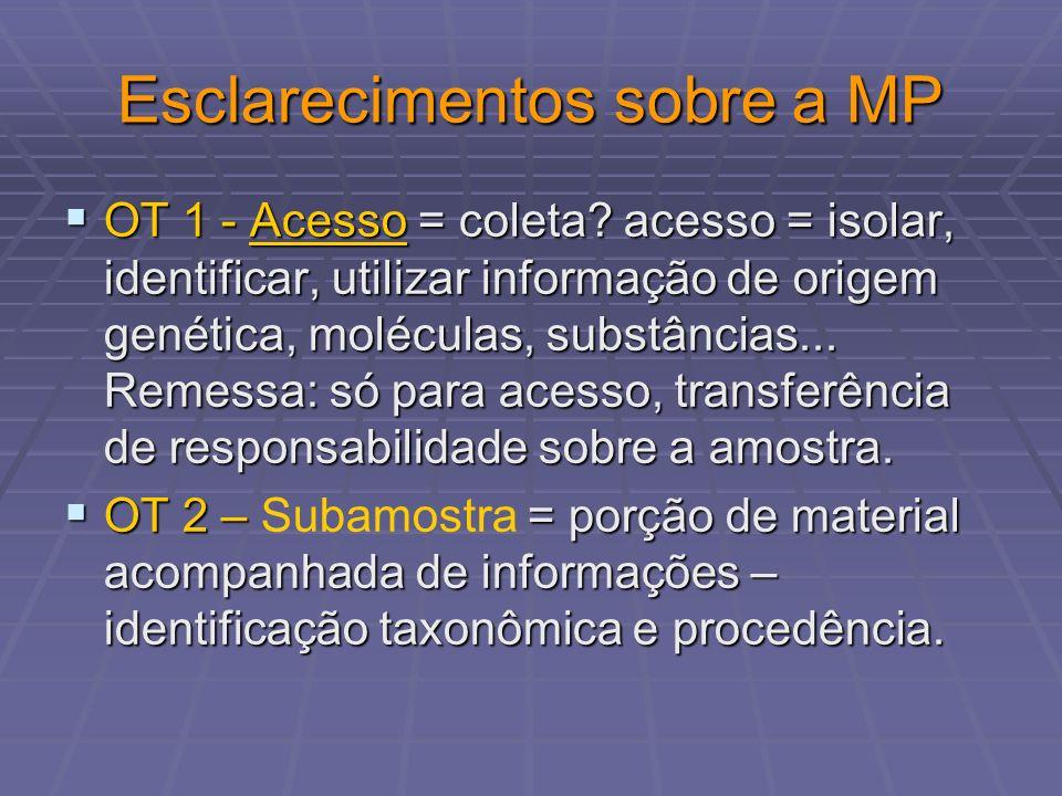 Esclarecimentos sobre a MP OT 1 - Acesso = coleta? acesso = isolar, identificar, utilizar informação de origem genética, moléculas, substâncias... Rem