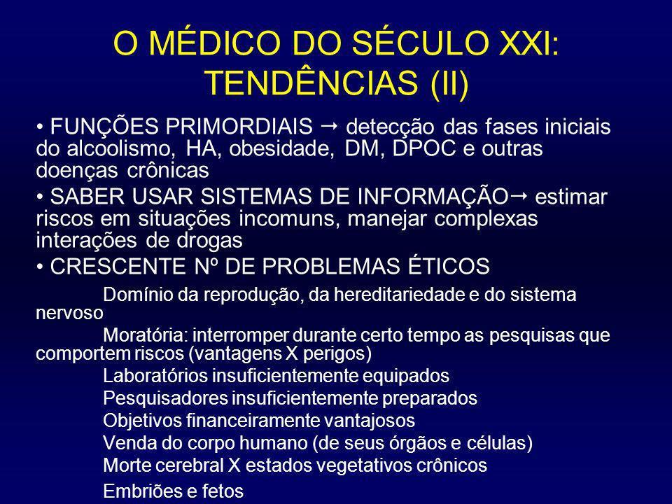O MÉDICO DO SÉCULO XXI: TENDÊNCIAS (II) FUNÇÕES PRIMORDIAIS detecção das fases iniciais do alcoolismo, HA, obesidade, DM, DPOC e outras doenças crônic
