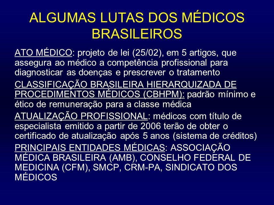 ALGUMAS LUTAS DOS MÉDICOS BRASILEIROS ATO MÉDICO: projeto de lei (25/02), em 5 artigos, que assegura ao médico a competência profissional para diagnos
