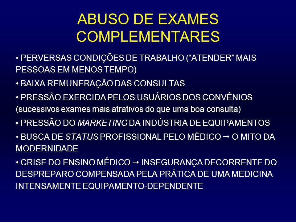 ABUSO DE EXAMES COMPLEMENTARES PERVERSAS CONDIÇÕES DE TRABALHO (ATENDER MAIS PESSOAS EM MENOS TEMPO) BAIXA REMUNERAÇÃO DAS CONSULTAS PRESSÃO EXERCIDA