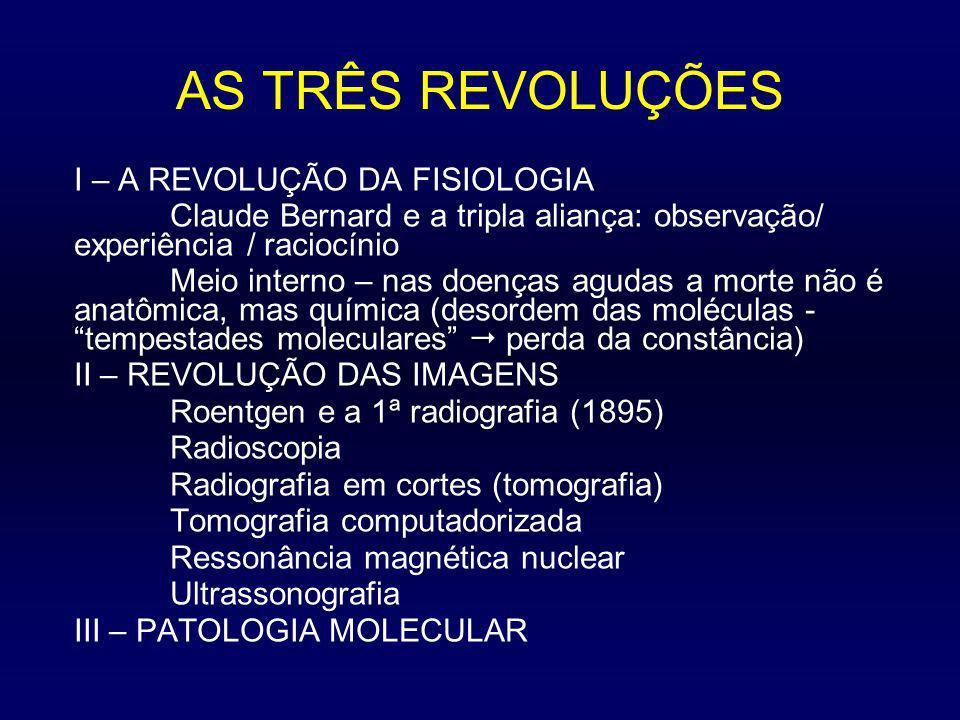 AS TRÊS REVOLUÇÕES I – A REVOLUÇÃO DA FISIOLOGIA Claude Bernard e a tripla aliança: observação/ experiência / raciocínio Meio interno – nas doenças ag