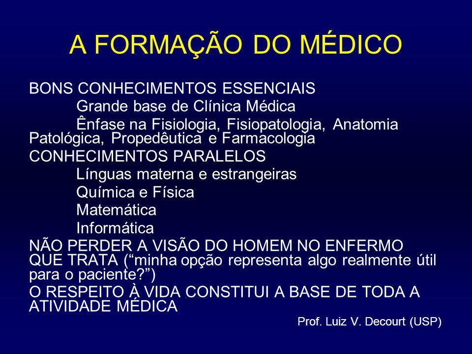 A FORMAÇÃO DO MÉDICO BONS CONHECIMENTOS ESSENCIAIS Grande base de Clínica Médica Ênfase na Fisiologia, Fisiopatologia, Anatomia Patológica, Propedêuti