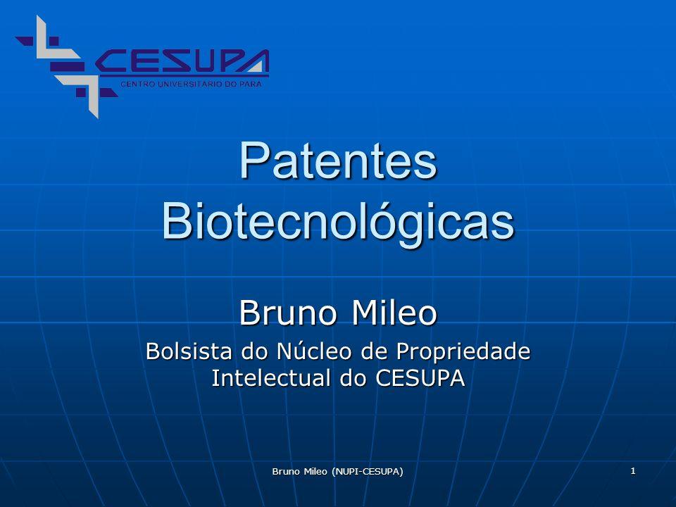 Bruno Mileo (NUPI-CESUPA) 1 Patentes Biotecnológicas Bruno Mileo Bolsista do Núcleo de Propriedade Intelectual do CESUPA