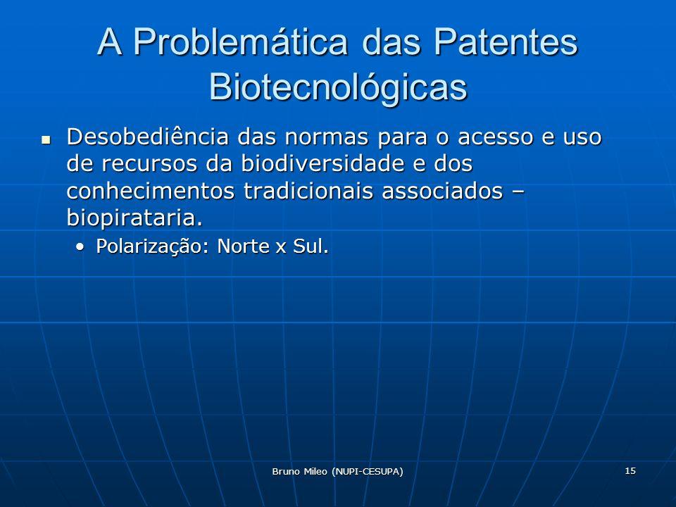 Bruno Mileo (NUPI-CESUPA) 15 A Problemática das Patentes Biotecnológicas Desobediência das normas para o acesso e uso de recursos da biodiversidade e dos conhecimentos tradicionais associados – biopirataria.