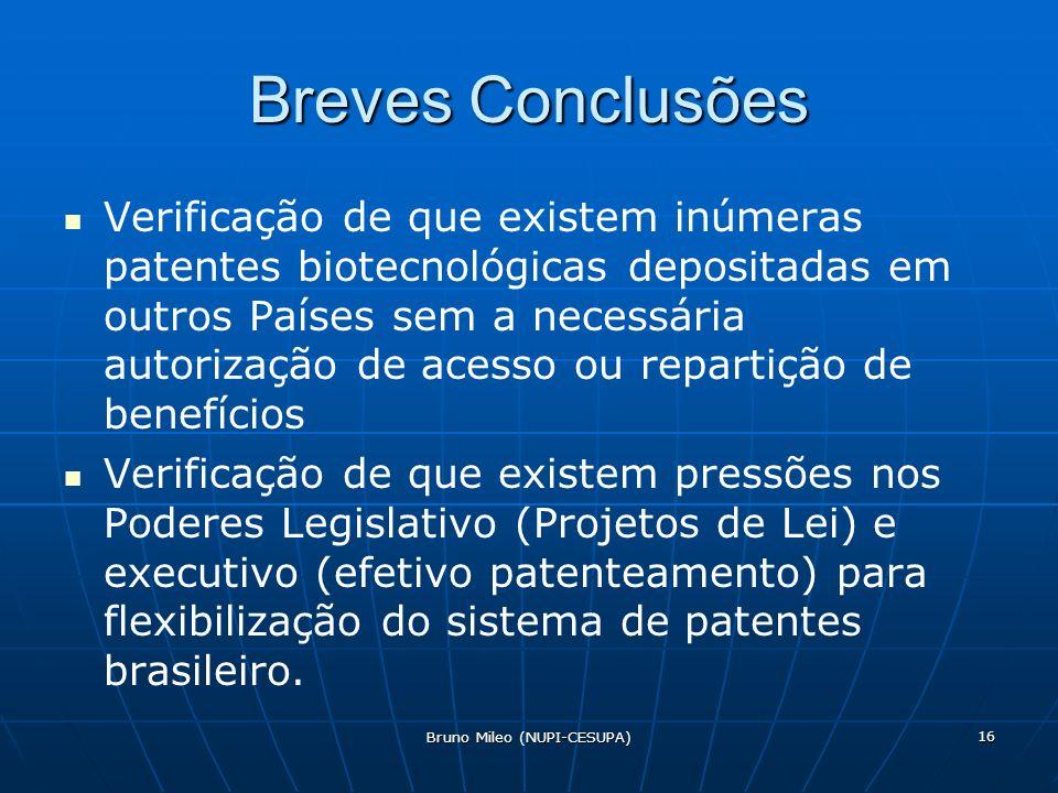Bruno Mileo (NUPI-CESUPA) 16 Breves Conclusões Verificação de que existem inúmeras patentes biotecnológicas depositadas em outros Países sem a necessária autorização de acesso ou repartição de benefícios Verificação de que existem pressões nos Poderes Legislativo (Projetos de Lei) e executivo (efetivo patenteamento) para flexibilização do sistema de patentes brasileiro.
