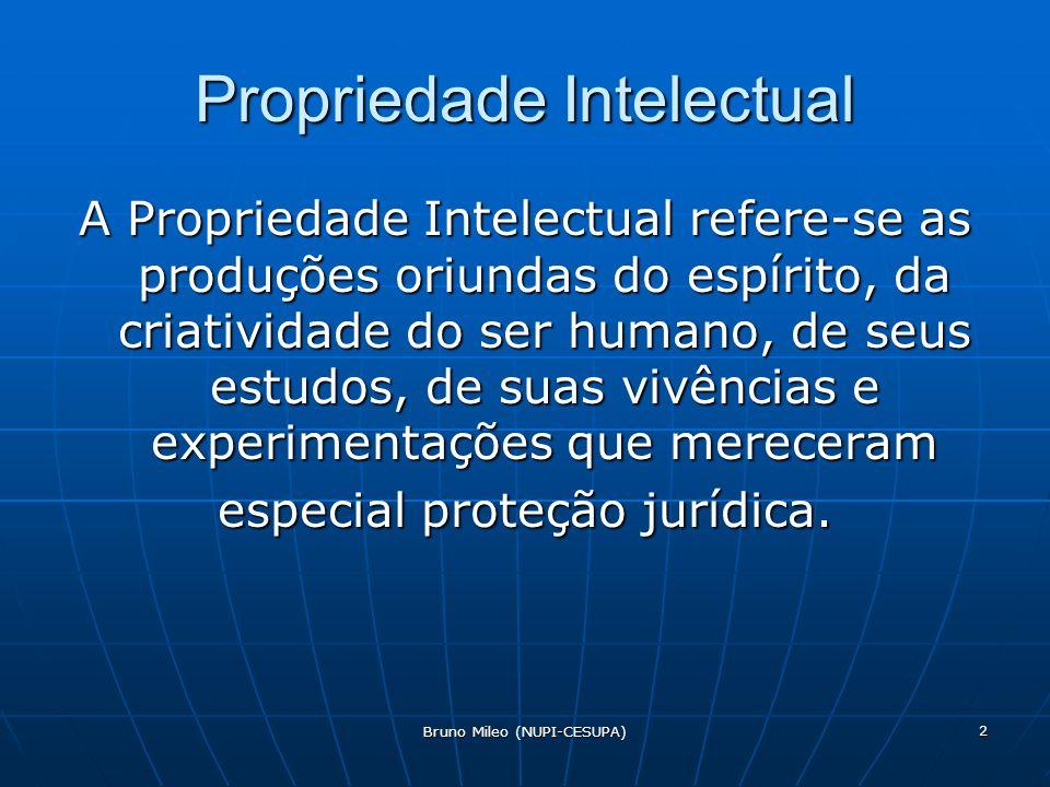 Bruno Mileo (NUPI-CESUPA) 2 Propriedade Intelectual A Propriedade Intelectual refere-se as produções oriundas do espírito, da criatividade do ser humano, de seus estudos, de suas vivências e experimentações que mereceram especial proteção jurídica.