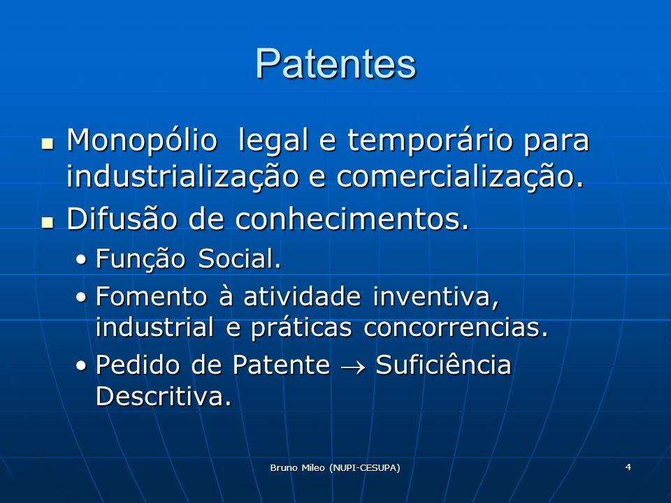 Bruno Mileo (NUPI-CESUPA) 4 Patentes Monopólio legal e temporário para industrialização e comercialização.