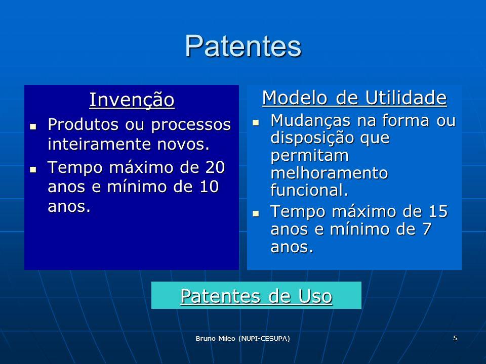 Bruno Mileo (NUPI-CESUPA) 5 Patentes Invenção Produtos ou processos inteiramente novos.