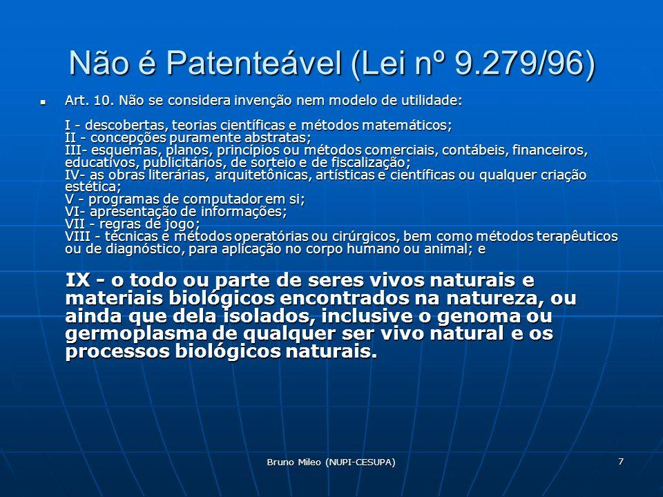 Bruno Mileo (NUPI-CESUPA) 7 Não é Patenteável (Lei nº 9.279/96) Art.