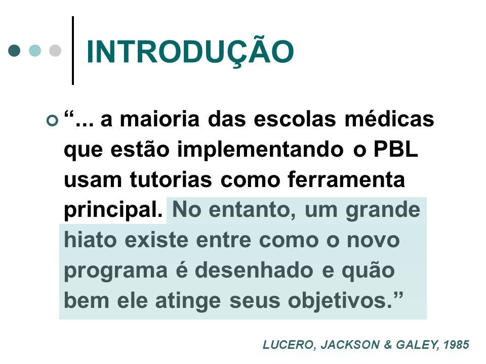 INTRODUÇÃO... a maioria das escolas médicas que estão implementando o PBL usam tutorias como ferramenta principal. No entanto, um grande hiato existe