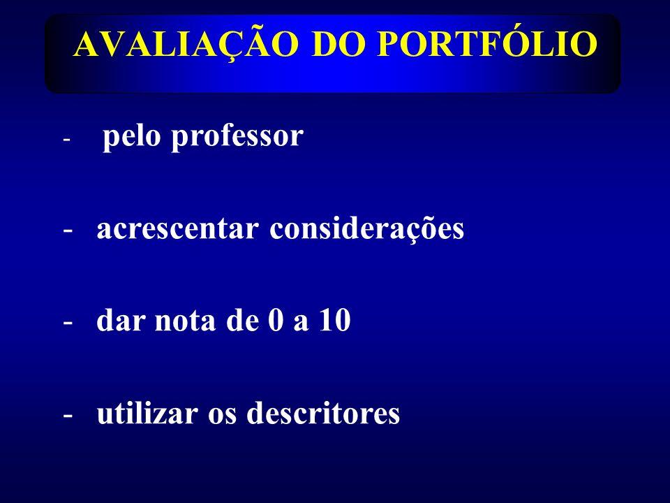 AVALIAÇÃO DO PORTFÓLIO - pelo professor -acrescentar considerações -dar nota de 0 a 10 -utilizar os descritores