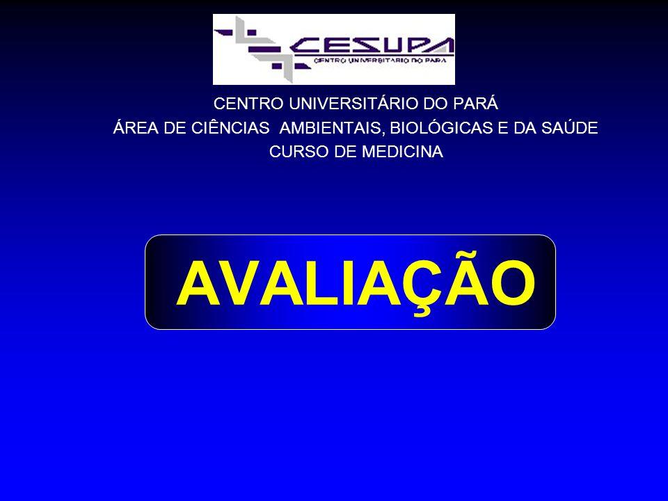 CENTRO UNIVERSITÁRIO DO PARÁ ÁREA DE CIÊNCIAS AMBIENTAIS, BIOLÓGICAS E DA SAÚDE CURSO DE MEDICINA AVALIAÇÃO
