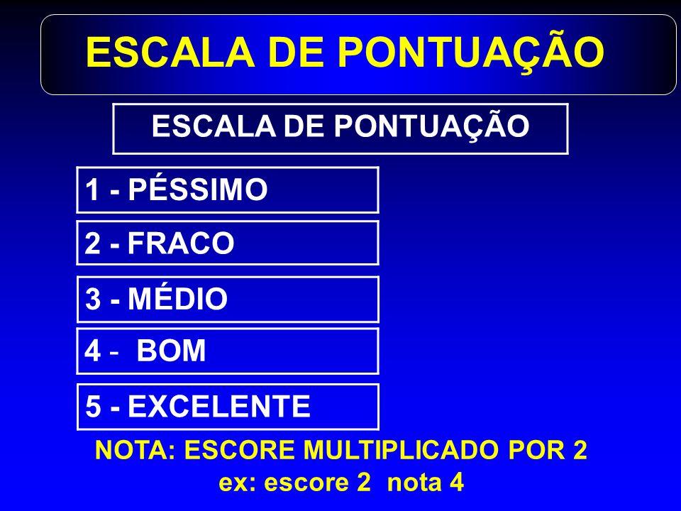 ESCALA DE PONTUAÇÃO 4 - BOM 3 - MÉDIO 2 - FRACO 1 - PÉSSIMO 5 - EXCELENTE ESCALA DE PONTUAÇÃO NOTA: ESCORE MULTIPLICADO POR 2 ex: escore 2 nota 4