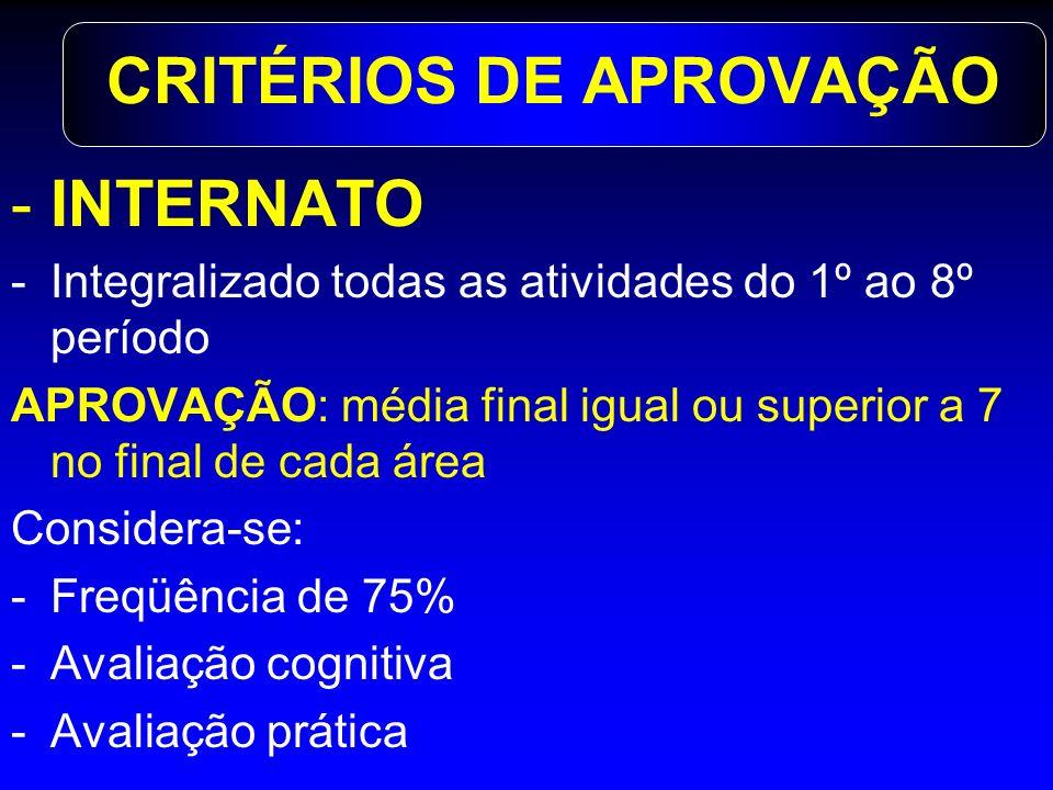 CRITÉRIOS DE APROVAÇÃO -INTERNATO -Integralizado todas as atividades do 1º ao 8º período APROVAÇÃO: média final igual ou superior a 7 no final de cada