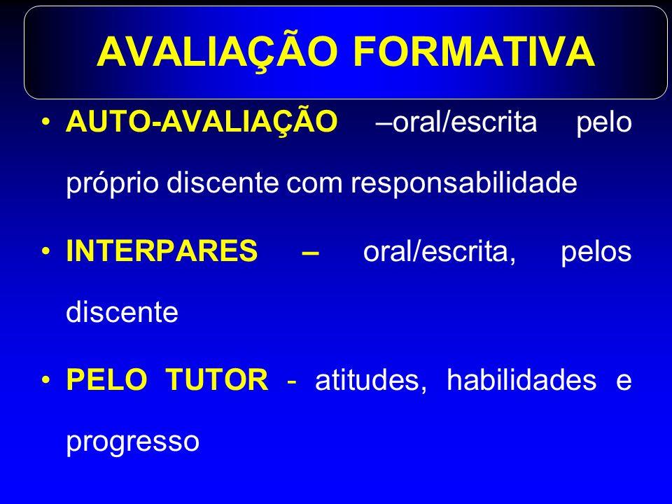 AVALIAÇÃO FORMATIVA AUTO-AVALIAÇÃO –oral/escrita pelo próprio discente com responsabilidade INTERPARES – oral/escrita, pelos discente PELO TUTOR - ati