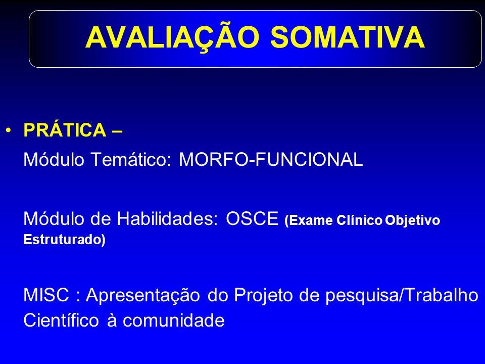 AVALIAÇÃO SOMATIVA PRÁTICA – Módulo Temático: MORFO-FUNCIONAL Módulo de Habilidades: OSCE (Exame Clínico Objetivo Estruturado) MISC : Apresentação do