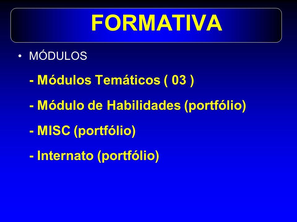 FORMATIVA/pesos MÓDULOS ( peso 5 – nota de 0 a 10) - Auto-avaliação – peso 1-instrumento 1 -Inter-pares - peso 1- instrumento 1 -Pelo tutor – peso 3- instrumento 2 -Portfólio – peso 5