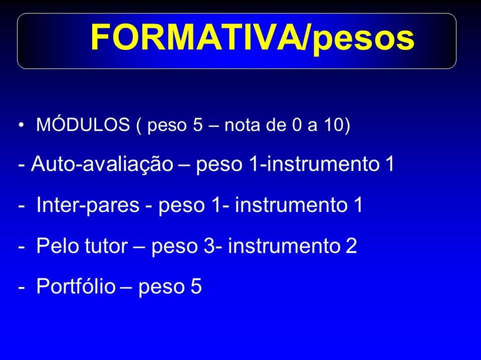 MÓDULOS TEMÁTICOS : -Final cada Módulo -Cognitiva : peso 2,5 -Prática: peso 2,5 MÓDULO DE HABILIDADES: - Final do semestre -Cognitiva : peso 2,5 - OSCE: peso 2,5 SOMATIVA/pesos