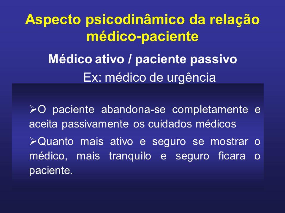 O paciente abandona-se completamente e aceita passivamente os cuidados médicos Quanto mais ativo e seguro se mostrar o médico, mais tranquilo e seguro ficara o paciente.