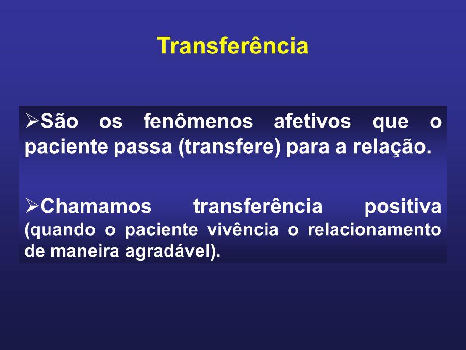 São os fenômenos afetivos que o paciente passa (transfere) para a relação.