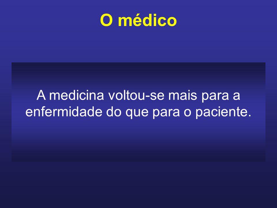 O médico nunca deve esquecer de que quem o pocura é um paciente e não uma doença, e o faz em função da dor e do sofrimento.