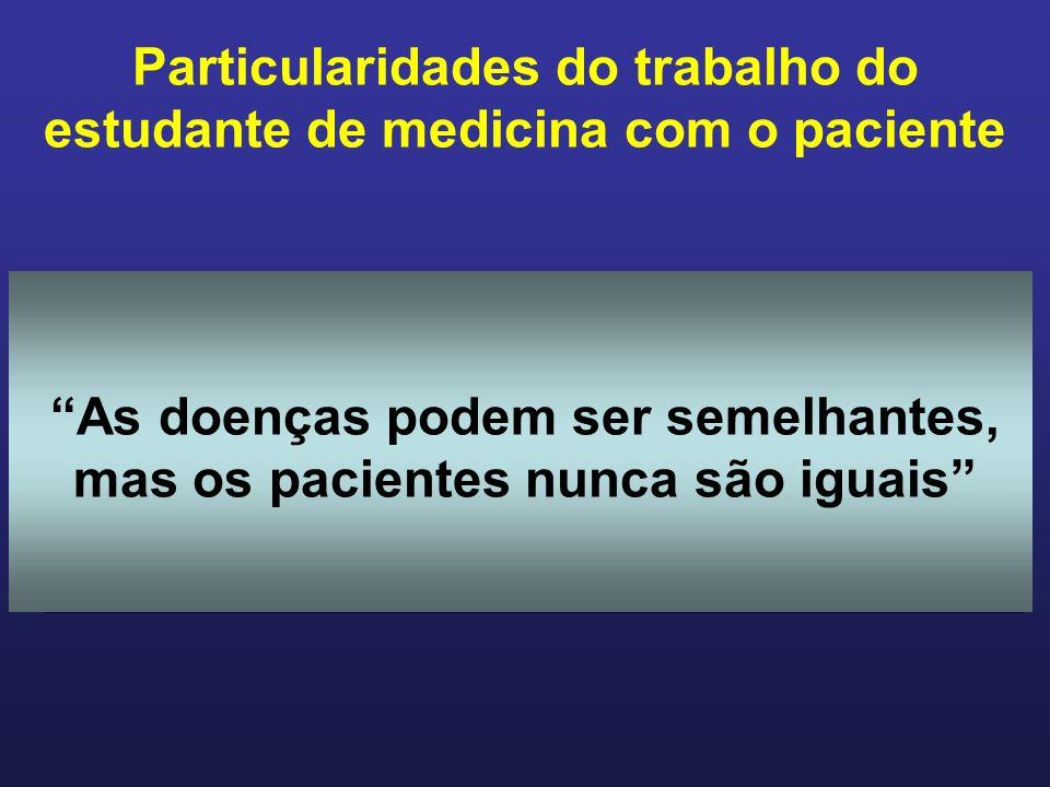Particularidades do trabalho do estudante de medicina com o paciente No aprendizado clínico é obrigatório o trabalho com o paciente.