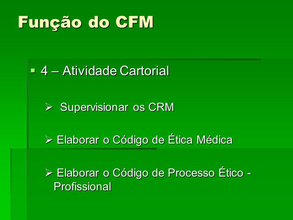 Função do CFM 4 – Atividade Cartorial 4 – Atividade Cartorial Supervisionar os CRM Supervisionar os CRM Elaborar o Código de Ética Médica Elaborar o C