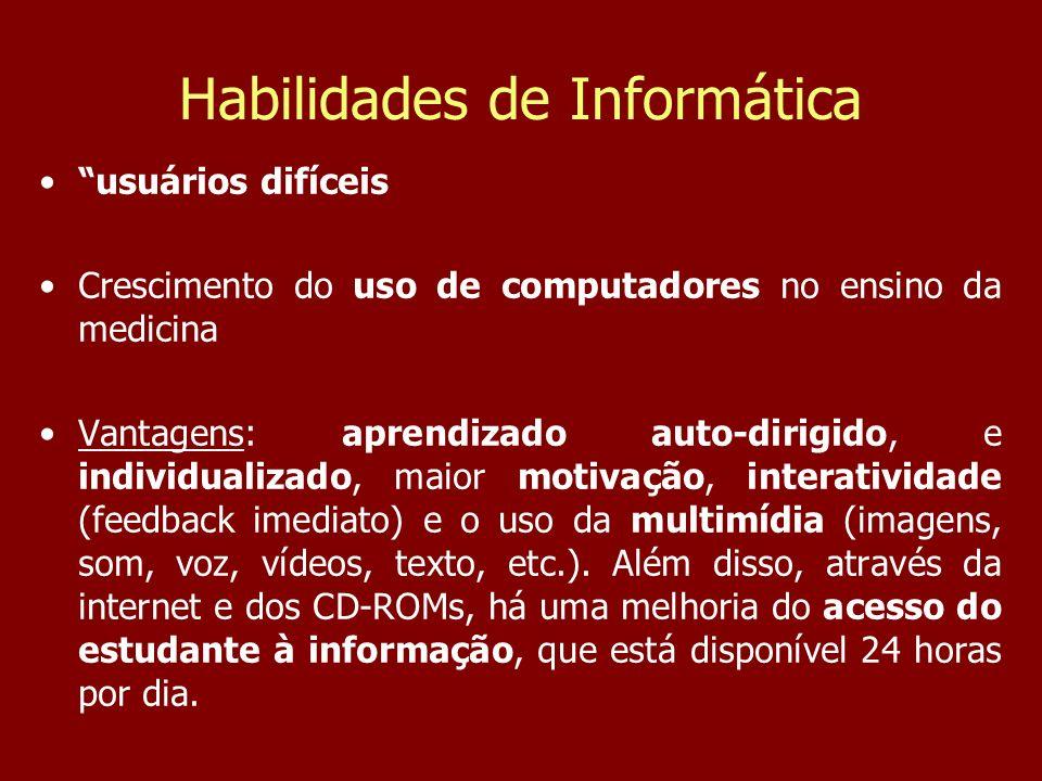 Habilidades de Informática Carga Horária e conteúdo Grupos de 25 alunos 2 aulas de 50 min cada, uma vez por semana.