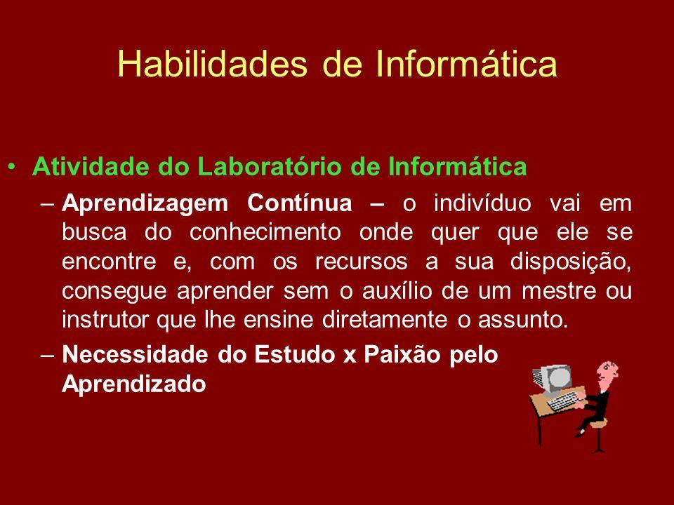 Habilidades de Informática Atividade do Laboratório de Informática –Aprendizagem Contínua – o indivíduo vai em busca do conhecimento onde quer que ele