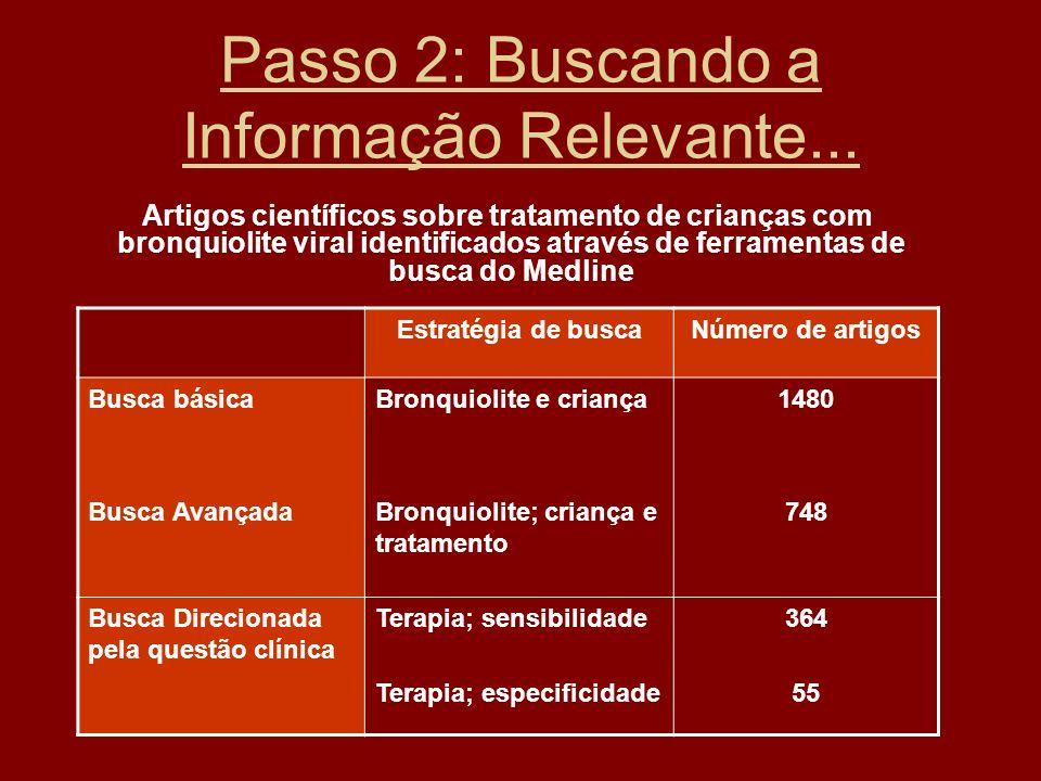 Passo 2: Buscando a Informação Relevante... Artigos científicos sobre tratamento de crianças com bronquiolite viral identificados através de ferrament