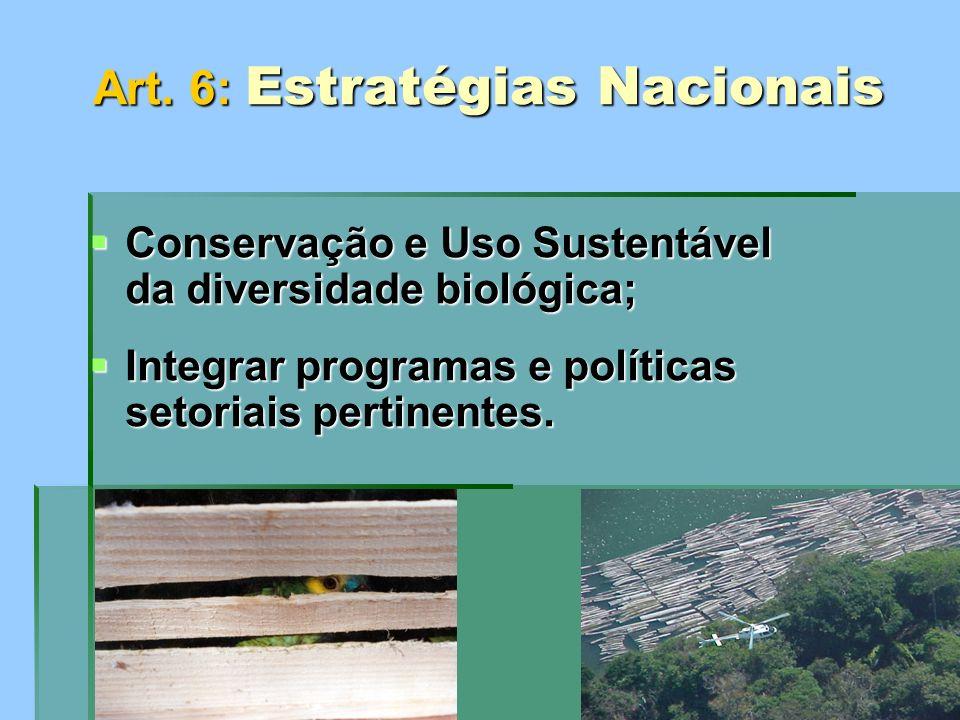 Art. 6: Estratégias Nacionais Conservação e Uso Sustentável da diversidade biológica; Conservação e Uso Sustentável da diversidade biológica; Integrar